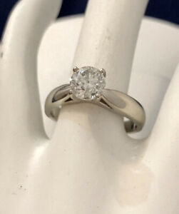 14k white gold 1ct diamond engagement ring/Certified at $13,750