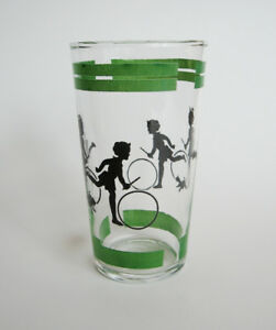 1940s Silhouette Drinking Glass with Green Trim