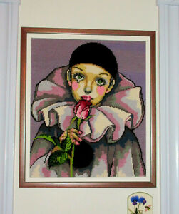 Needlepoint PIERROT Framed Picture - Clown with Rose