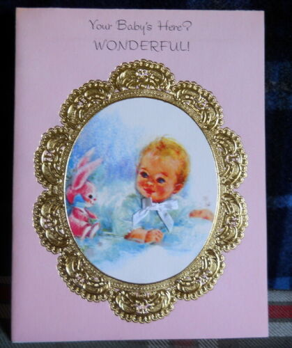 VINTAGE Baby Congratulation :Your Babies Here? WONDERFULL >American Greeting1960