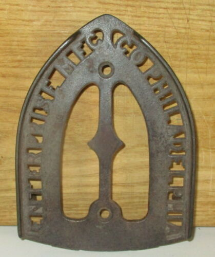 ANTIQUE CAST IRON ENTERPRISE CO- PHILADELPHIA  SAD IRON TRIVIT HOLDER STAND