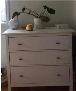 White Ikea HEMNES dresser with gold handles (3 drawers)