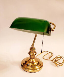Vintage Classic Green Glass Brass Bankers Lamp,Desk Lamp