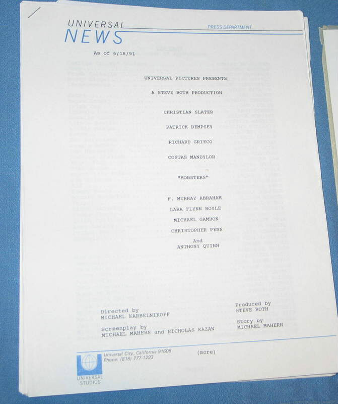 """Universal Studios """"MOBSTERS"""" Pressbook Production Notes & 4 Photos FREE SHIP"""