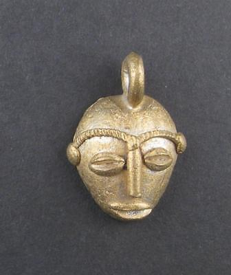 Traditional Mask Brass Pendant from Africa Ghana African Large Hole Handmade