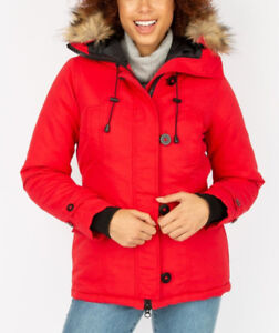 Women's red down filled parka like new.