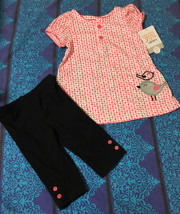 Carters birdie shirt and leggings, new with tags