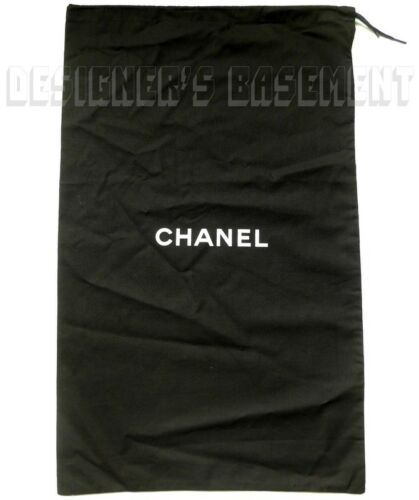 """CHANEL large black Dust Bag string tie 14.5 x 23"""" for Boots or Handbag NEW Auth"""