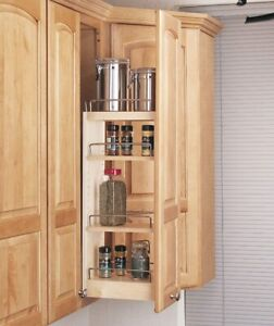 Spice Rack - Pull-Out Wood Wall Cabinet Organizer