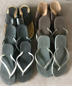 **SIX PAIRS OF LADIES FLIP FLOPS FOR SALE-SIZE 9**