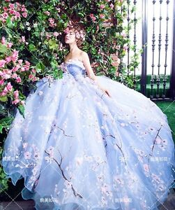 light blue prom formal evening wedding floral dresses gown