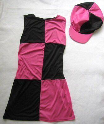 Groovy Baby Swing Go Go Girl Costume Dress Pink Black Check Dress Hat Adult - Hat Check Girl Kostüm
