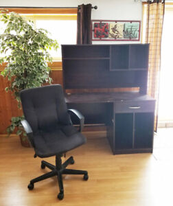 Dark brown wood desk with office chair