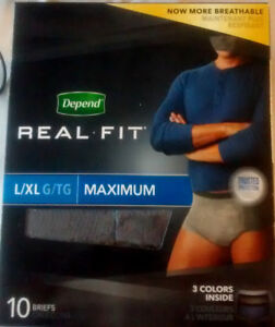 DEPEND UNDERWEAR REAL FIT MAX ABSORBENCY L/XL FOR MEN, 50 COUNT