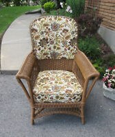 Antique Wicker Upright Chair - Upholstered Back and Seat