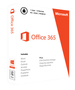 Microsoft Office 365 - Onetime Fee, 5 PC/MAC, Instant Delivery