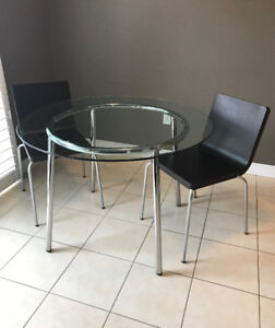 Modern Glass & Metal Table + 2 Chairs