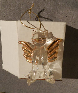 New Glass Memorial Cat Angel With Stand.