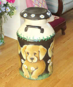 """Vintage Hand Painted MILK CAN - DOGS & DAISIES - 24"""" x 13"""