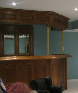 Custom handmade oak bar for basement pub