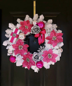 White & pink themed Christmas Wreath