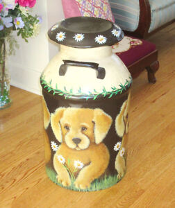 "Vintage Hand Painted MILK CAN - DOGS & DAISIES - 24"" x 13"