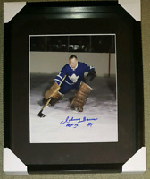 Johnny Bower Signed Maple Leafs Photo Framed w/COA