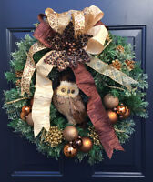 Brown Owl Wreath w/ battery operated white lights