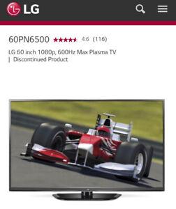 "60"" LG Plasma TV and Black Glass Stand"