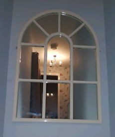 XL arched window style white mirror