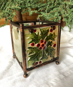 Artistic Stained Painted Glass Christmas Votive Candle Holder