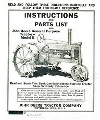 John Deere B General Purp. Operators Instruction Manual