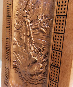 Wood Carved Fly Fisherman Custom Cribbage Board w/stand Strathcona County Edmonton Area image 2