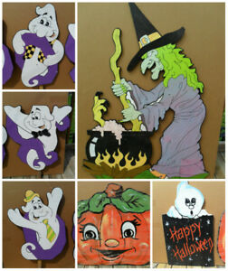 Vintage Wooden Painted Cuts Outs for Halloween Decor