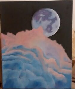 "Oil Painting on Canvas - Full Moon in the cloud 20""x16"" must see"