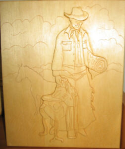 WOOD CARVINGS  Wall Plaques & figures $3-$60. Cowboy plaque $30,