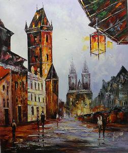 Original-Modern-Handmade-palette-knife-Cityscape-Oil-Painting-Art-20-x24-JK012