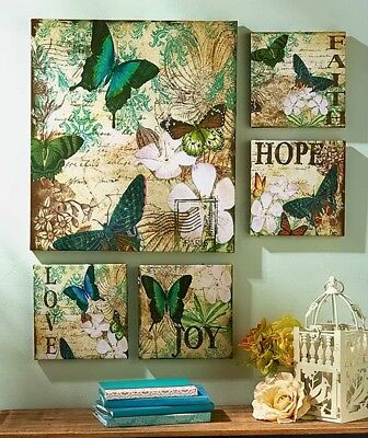 5 BUTTERFLY HOPE LOVE JOY CANVAS PICTURE WALL ART LIVING ROOM BEDROOM HOME DECOR