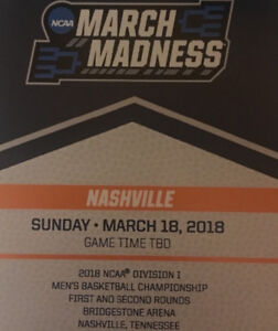 Two tickets for March madness basketball tournament in Nashville