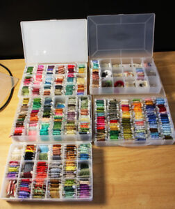 EMBROIDERY / CROSS-STITCH THREAD COLLECTION - LARGE LOT! 5 BINS