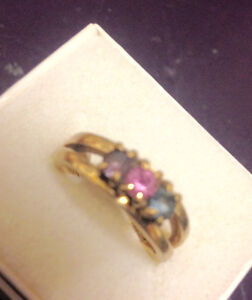 10k Gold Ring with colorful stones $125