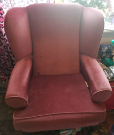 2 pink armchairs