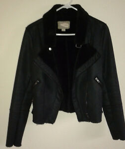 BLACK FAUX SWEDE LADY'S JACKET