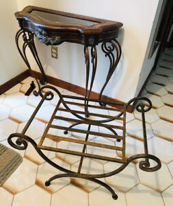 Antique leather top side table & matching low bench/table