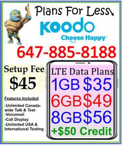 Koodo 6Gb 8Gb LTE Data talk text plan + $50 BONUS (Limited Time)
