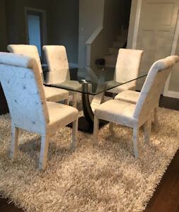 Glass Dining Table, 6 chairs and area rug