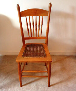 Antique High Back, Cane Seat, Kitchen Chair.