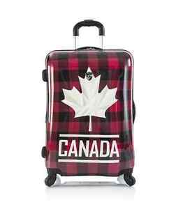 """HEYS LUGGAGE 26"""" CANADA PLAID SPINNER SUITCASE NEW IN BOX"""