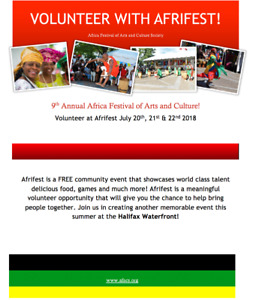 Volunteer with AFRIFEST this summer!