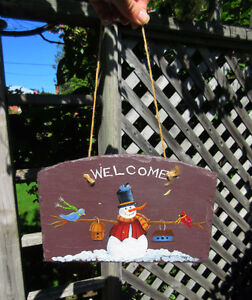 Hanging SNOWMAN Welcome Sign - Hand Painted Stone